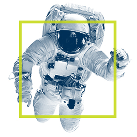 Astronaut in full Space Suit with green square around the centre